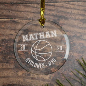 Personalized Basketball (Etched) Christmas Ornament