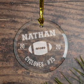 Personalized Football (Etched) Christmas Ornament