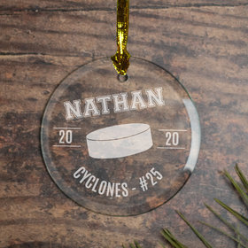 Personalized Hockey (Etched) Christmas Ornament