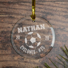 Personalized Soccer (Etched) Christmas Ornament