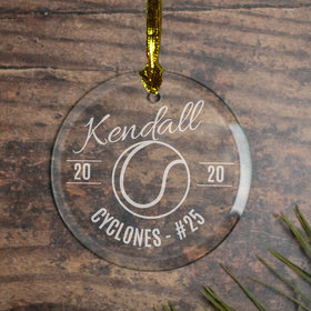 Personalized Tennis (Etched) Christmas Ornament