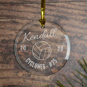 Personalized Volleyball (Etched) Christmas Ornament