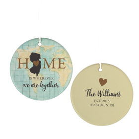 Personalized New Jersey Home Christmas Ornament