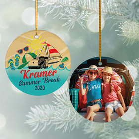 Personalized Beach Vacation Travel Photo Christmas Ornament