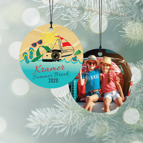 Personalized Summer Break Christmas Ornament