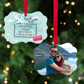 Personalized World Traveler Christmas Ornament