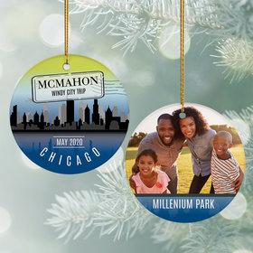 Personalized Chicago Travel Photo Christmas Ornament