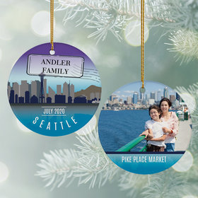 Personalized Seattle Travel Photo Christmas Ornament