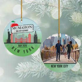 Personalized New York Travel Photo Christmas Ornament