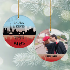 Personalized Paris Travel Photo Christmas Ornament