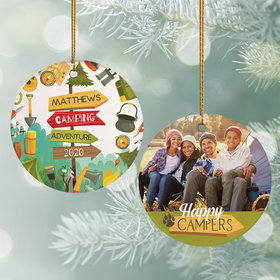 Personalized Happy Campers Photo Christmas Ornament