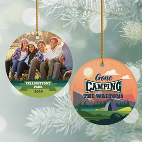 Personalized Gone Camping Photo Christmas Ornament