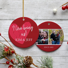 Personalized I Love Being Us Christmas Ornament