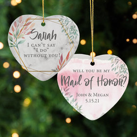 Personalized Maid of Honor Christmas Ornament