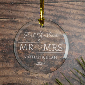 Personalized First Xmas as MR & Mrs Christmas Ornament