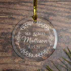 Personalized MR & MRS Botanical Christmas Ornament
