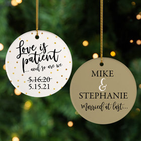 Personalized Love is Patient Christmas Ornament