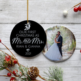 Personalized First Christmas as Mr. & Mrs. Christmas Ornament