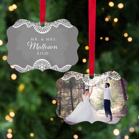 Personalized Wedding Christmas Lace Christmas Ornament