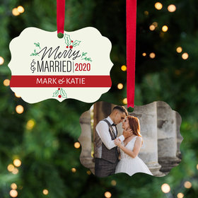 Personalized Merry & Married Christmas Ornament