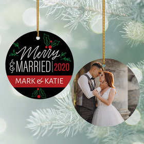 Personalized Merry & Married Wedding Photo Christmas Ornament