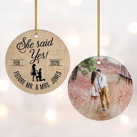 Personalized 'She Said Yes' Wedding Photo Christmas Ornament