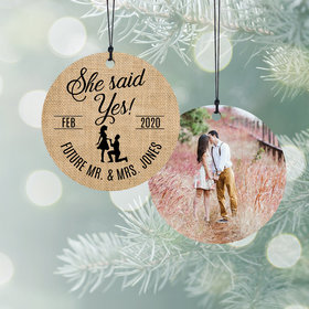 Personalized Wedding Burlap Christmas Ornament