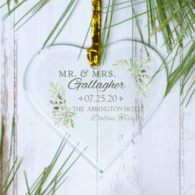 Personalized Wedding Botanical Christmas Ornament