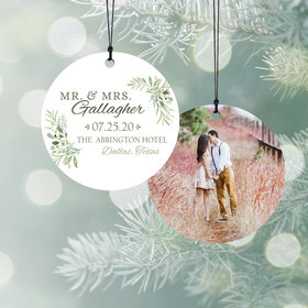 Personalized Botanical Mr & Mrs Wedding Christmas Ornament