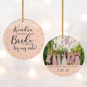 Personalized Bridal Party Wedding Photo Christmas Ornament