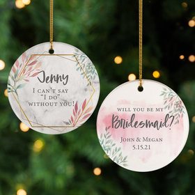 Personalized Bridesmaid Wedding Christmas Ornament