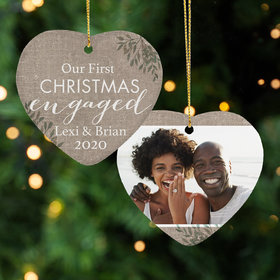 Personalized First Christmas Engaged Christmas Ornament