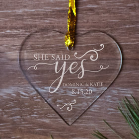 Personalized She Said Yes Christmas Ornament