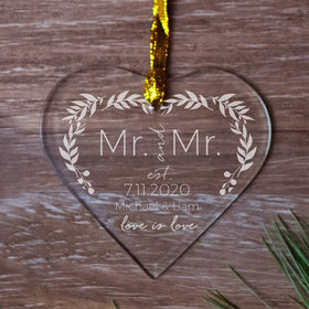 Personalized Love is Love Wedding - MR Christmas Ornament