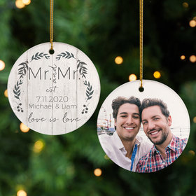 Personalized Love is Love Mr & Mr Photo Christmas Ornament
