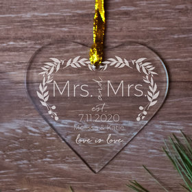 Personalized Love is Love Wedding - MRS Christmas Ornament