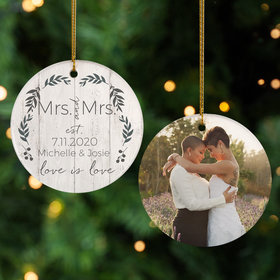 Personalized Love is Love Mrs & Mrs Photo Christmas Ornament