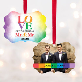 Personalized Mr & Mr Love Watercolor Christmas Ornament
