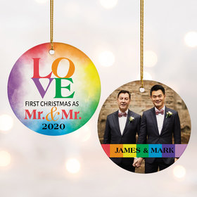 Personalized Mr & Mr Wedding Christmas Ornament