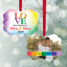 Personalized Mrs & Mrs Love Watercolor Christmas Ornament