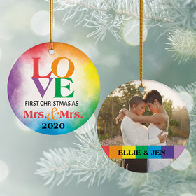 Personalized Mrs & Mrs Wedding Christmas Ornament