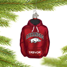 Personalized University of Arkansas Hoodie Sweatshirt Christmas Ornament