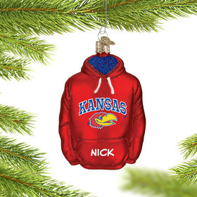 Personalized University of Kansas Hoodie Sweatshirt Christmas Ornament