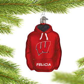 Personalized University of Wisconsin Hoodie Sweatshirt Christmas Ornament