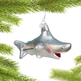 Personalized Glass Shark Christmas Ornament