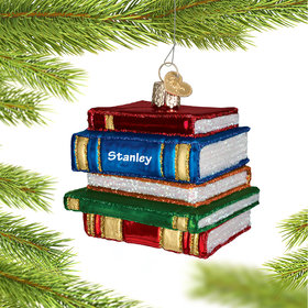 Personalized Stack of Books Christmas Ornament