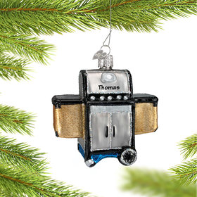 Personalized Silver Barbeque Grill Christmas Ornament