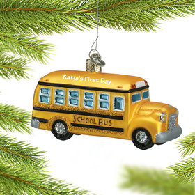 Personalized Glass School Bus Christmas Ornament