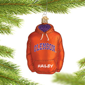Personalized Clemson University Hoodie Sweatshirt Christmas Ornament