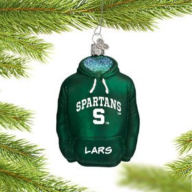 Personalized Michigan State University Hoodie Sweatshirt Christmas Ornament